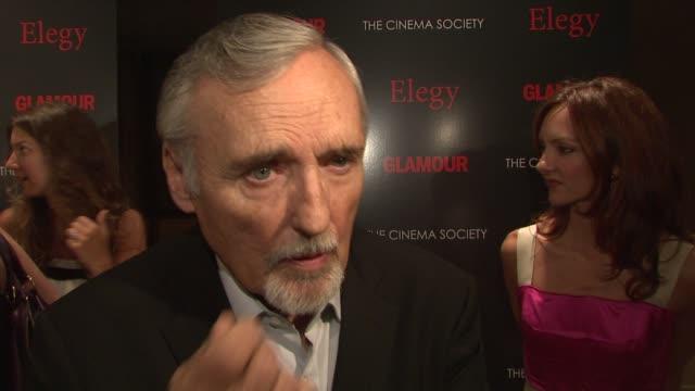 ben kingsley dennis hopper at the cinema society presents screening of 'elegy' at new york ny - ben kingsley stock videos and b-roll footage