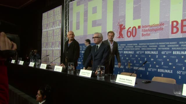 ben kingsley leonardo dicaprio martin scorsese at the shutter island press conference 60th berlin film festival at berlin - ben kingsley stock videos and b-roll footage