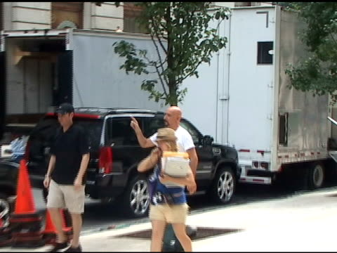 ben kingsley makes his way to the wardrobe trailer on the set of 'the dictator' in new york 07/06/11 - ben kingsley stock videos and b-roll footage