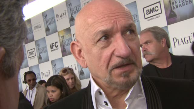ben kingsley on the importance of independent films and on why he likes this award show at the film independent's 2009 spirit awards arrivals part 2... - ben kingsley stock videos and b-roll footage