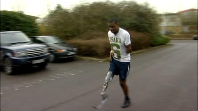 ben mcbean running usin 'blade' prosthetic leg - blade stock videos & royalty-free footage