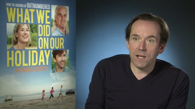 vídeos de stock e filmes b-roll de interview ben miller on encouraging the imagination of children and working with billy connolly at 'what we did on our holiday' interviews on... - billy connolly