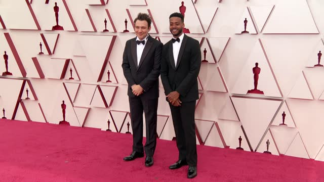 ben proudfoot and kris bowers at the93rd annual academy awards - arrivals onapril25, 2021. - academy awards stock videos & royalty-free footage