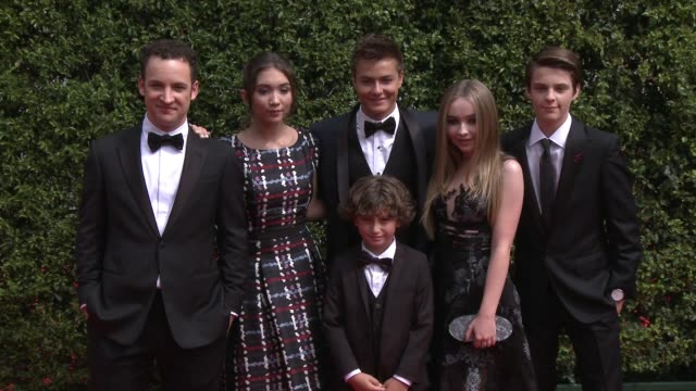 ben savage rowan blanchard sabrina carpenter august maturo peyton meyer and corey fogelmanis at the 2015 creative arts emmy awards at microsoft... - maturo stock videos & royalty-free footage