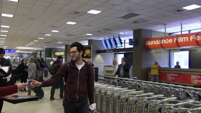 Ben Schwartz arrives at Salt Lake City Airport for the Sundance Film Festival in Celebrity Sightings in Park City UT