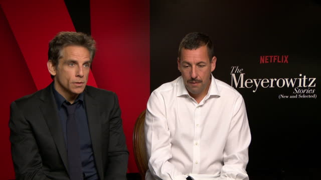 interview ben stiller adam sandler on noah baumbach the script at 'the meyerowitz stories' interviews at carlton hotel on may 22 2017 in cannes france - noah baumbach stock videos and b-roll footage