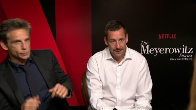 interview ben stiller adam sandler on not confusing them doing one film together in the past born to play brothers at 'the meyerowitz stories'... - adam sandler stock videos & royalty-free footage