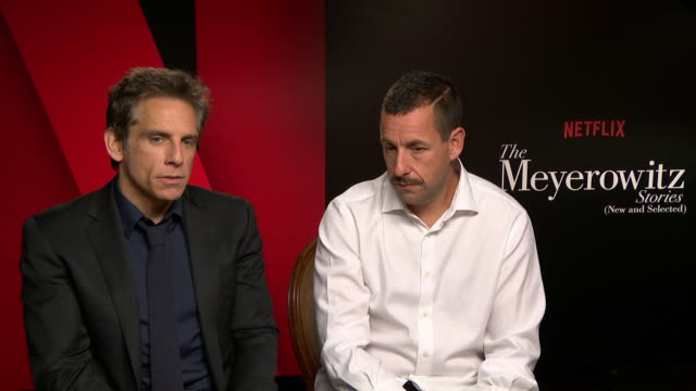 interview ben stiller adam sandler on their characters money not making you successful being content in life at 'the meyerowitz stories' interviews... - adam sandler stock videos & royalty-free footage