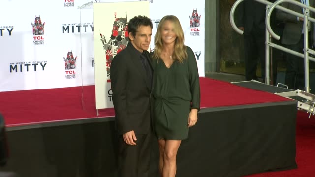 ben stiller and christine taylor at ben stiller immortalized with hand and footprint ceremony, 12/3/2013 - christine taylor stock videos & royalty-free footage