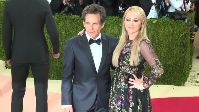 ben stiller and christine taylor at manus x machina fashion in an age of technology costume institute benefit gala arrivals at metropolitan museum of... - manus x machina: fashion in an age of technology stock videos and b-roll footage