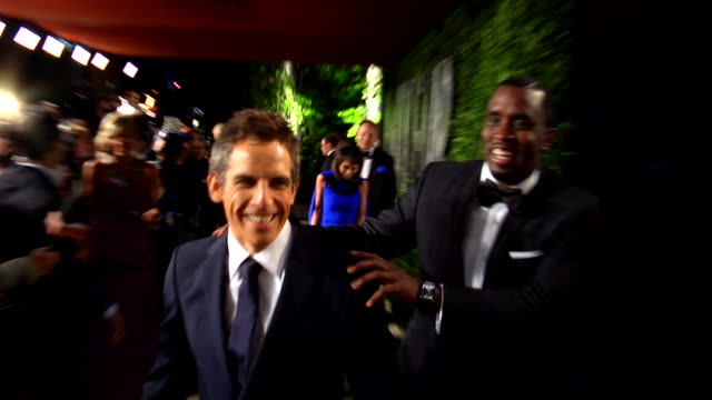 Ben Stiller and Sean Diddy Combs at the 2012 Vanity Fair Oscar Party Hosted By Graydon Carter Inside Party at West Hollywood CA