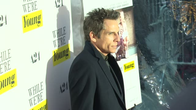 ben stiller at while we're young new york premiere at the paris theatre on march 23 2015 in new york city - noah baumbach stock videos and b-roll footage