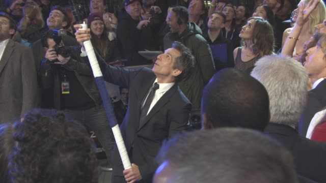 ben stiller breaks the world record for longest selfie stick at 'zoolander 2' - uk special screening at empire leicester square on february 4, 2016... - leicester square stock videos & royalty-free footage