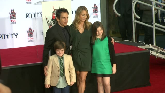 ben stiller, christine taylor and family at ben stiller immortalized with hand and footprint ceremony, 12/3/2013 - christine taylor stock videos & royalty-free footage