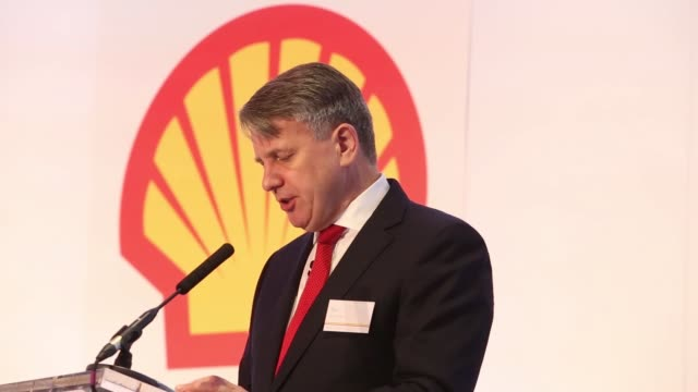Ben van Beurden chief executive officer of Royal Dutch Shell Plc gestures as he speaks as the company announce their fourth quarter results in London...