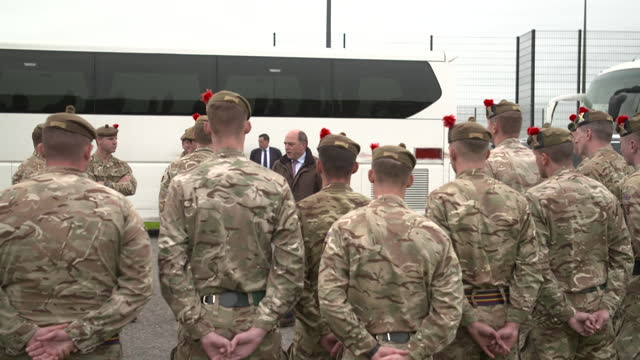 ben wallace, defence secretary, chatting with 3 scots soldiers at their fort george base, who are preparing to go to kabul, if needed, to help with... - effort stock videos & royalty-free footage