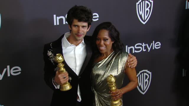 ben whishaw, regina king at instyle and warner bros. golden globes after party 2019 in los angeles, ca 1/6/19 - ben whishaw stock videos & royalty-free footage