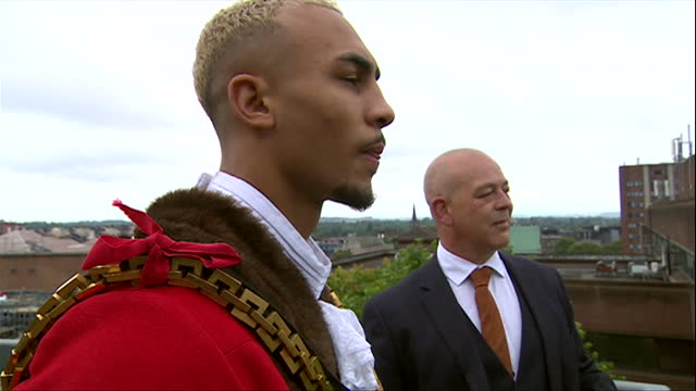 ben whittaker, olympic silver medallist at tokyo, becomes honourary mayor of wolverhampton for the day, after joking about it at the olympics - cheerful stock videos & royalty-free footage