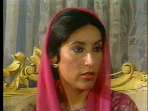 benazir bhutto comments on the need for military backing if her political party will survive in pakistan. - (war or terrorism or election or government or illness or news event or speech or politics or politician or conflict or military or extreme weather or business or economy) and not usa stock videos & royalty-free footage