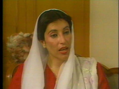 benazir bhutto comments on the qualities a person has determines their leadership, not whether they are a man or woman. - (war or terrorism or election or government or illness or news event or speech or politics or politician or conflict or military or extreme weather or business or economy) and not usa stock videos & royalty-free footage