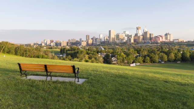 bench for urban skyline view - edmonton stock videos and b-roll footage