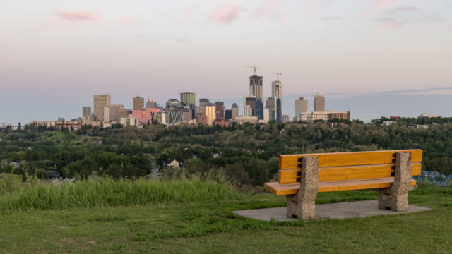 bench for view of edmonton skyline - alberta stock videos & royalty-free footage
