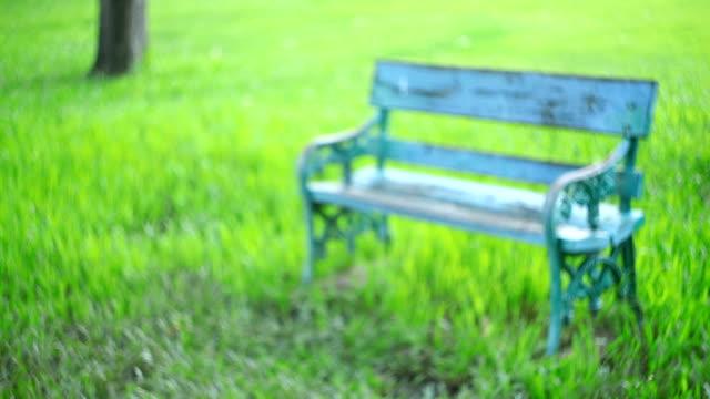 Bank auf Gras