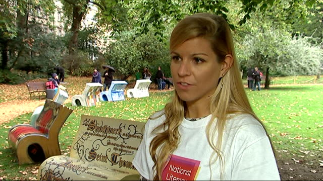 Benches designed as books to be sold for literacy project Harriet Wood interview SOT