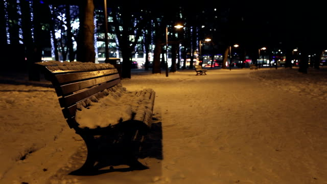 Benches in Winter - Time Lapse