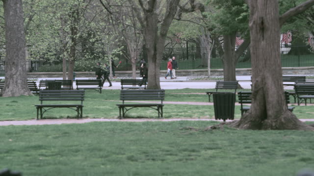 HA Benches, squirrels, and pedestrians in Lafayette Park / Washington, D.C., United States