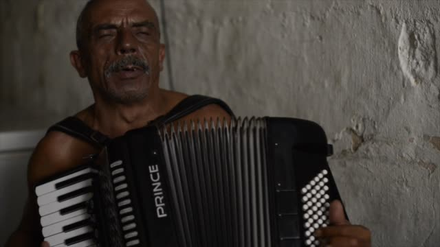 benedetto da macuca is a local celebrity, a musician known in olinda and most of the northeastern parts of brazil. he casualy plays on the accordion... - 独奏者点の映像素材/bロール