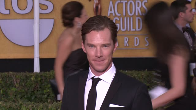 benedict cumberbatch at 20th annual screen actors guild awards arrivals at the shrine auditorium on in los angeles california - シュラインオーディトリアム点の映像素材/bロール