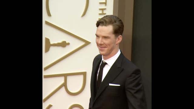 benedict cumberbatch at the 86th annual academy awards - arrivals - benedict cumberbatch stock videos & royalty-free footage