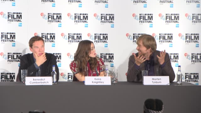 interview benedict cumberbatch keira knightley morten tyldum on if they have become any good at sudoku or crosswords being shown the enigma machine... - enigma machine stock videos & royalty-free footage