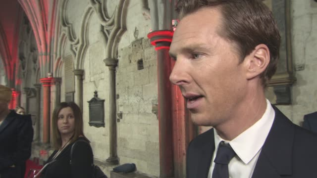 benedict cumberbatch on finally being able to talk about the film, enjoying to transform for a role, his character, now being a familyman, judge... - benedict cumberbatch stock videos & royalty-free footage
