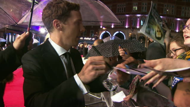 benedict cumberbatch signs autographs and poses for selfies on the red carpet of a bfi london film festival screening - benedict cumberbatch stock videos & royalty-free footage