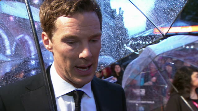 Benedict Cumberbatch speaking about The Imitation Game during red carpet interview at a BFI London Film Festival screening