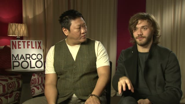 interview benedict wong lorenzo richelmy on netflx bringing the story to life the influence of marco polo the preparation for the roles at 'marco... - lorenzo richelmy stock videos and b-roll footage