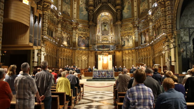 benedictine abbey santa maria de montserrat in spain - religious service stock videos & royalty-free footage