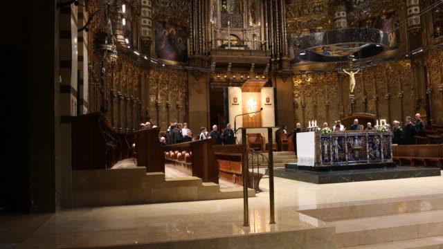 stockvideo's en b-roll-footage met benedictine abbey santa maria de montserrat in spain - lessenaar
