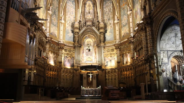 benedictine abbey santa maria de montserrat in spain - kanzel stock-videos und b-roll-filmmaterial