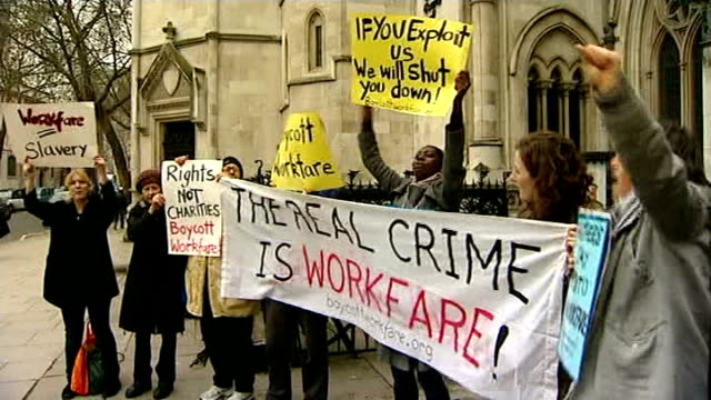 disabled campaigners win legal right to challenge scrapping of independent living fund tx high court ext various shots protesters against government... - disability benefits stock videos & royalty-free footage