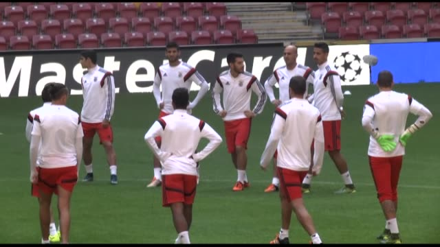 benfica football team players attend a training session at turk telekom arena in istanbul on october 20 2015 ahead of the uefa champions league group... - uefa champions league stock videos and b-roll footage