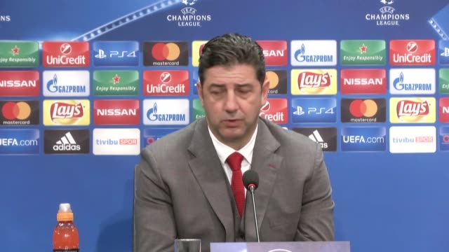 benfica's head coach rui vitoria holds a press conference following the his team's champions league group b soccer match against besiktas in istanbul... - besiktas stock videos and b-roll footage