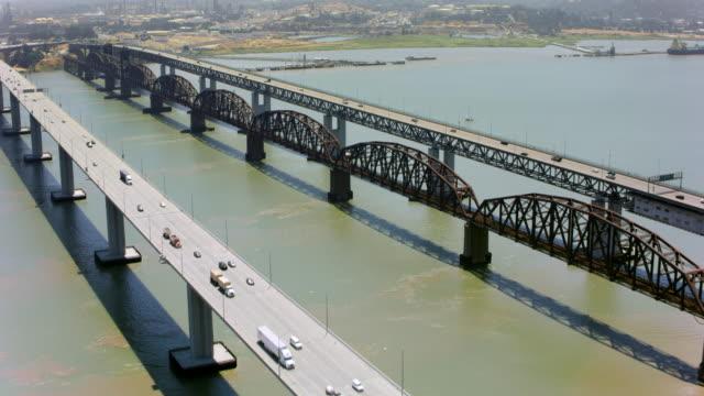 aerial benicia-martinez bridge in suisun bay, california - bay of water stock videos & royalty-free footage