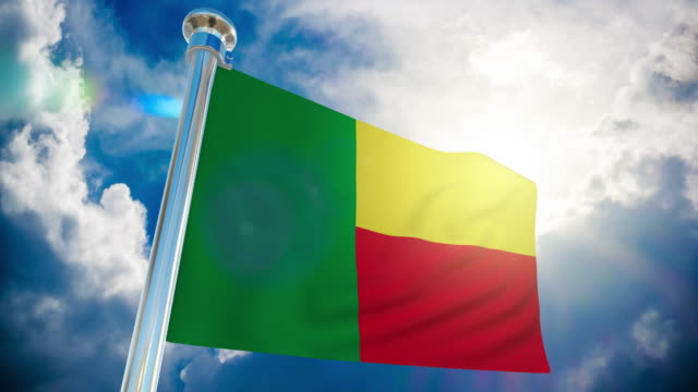 4k - benin flag | loopable stock video - intricacy stock videos & royalty-free footage