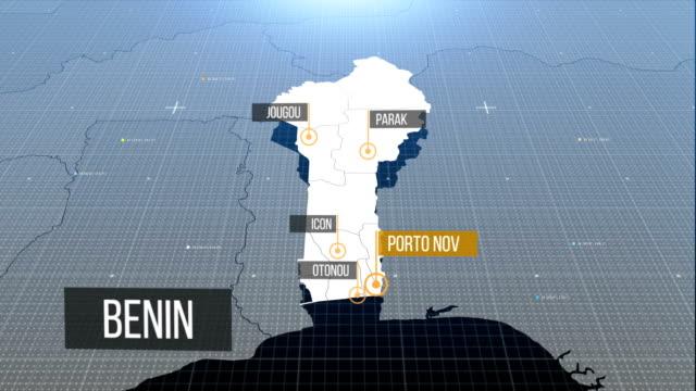 benin map 4k - benin stock videos and b-roll footage