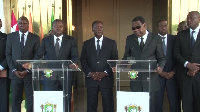 benin president thomas boni yayi and togolese counterpart faure gnassingbe visit ivory coast following a terror attack that left 18 people dead they... - benin stock videos and b-roll footage