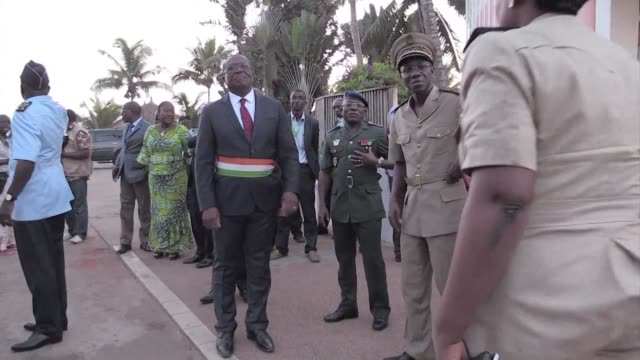 benin president thomas boni yayi and togolese counterpart faure gnassingbe visit ivory coast following a terror attack that left 18 people dead - benin stock videos and b-roll footage