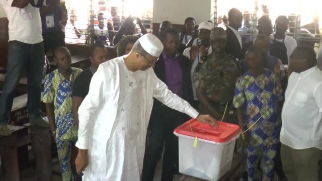 benin presidential candidate lionel zinsou casts his vote in the capital cotonou praising the dignified serene and peace election campaign and... - benin stock videos and b-roll footage